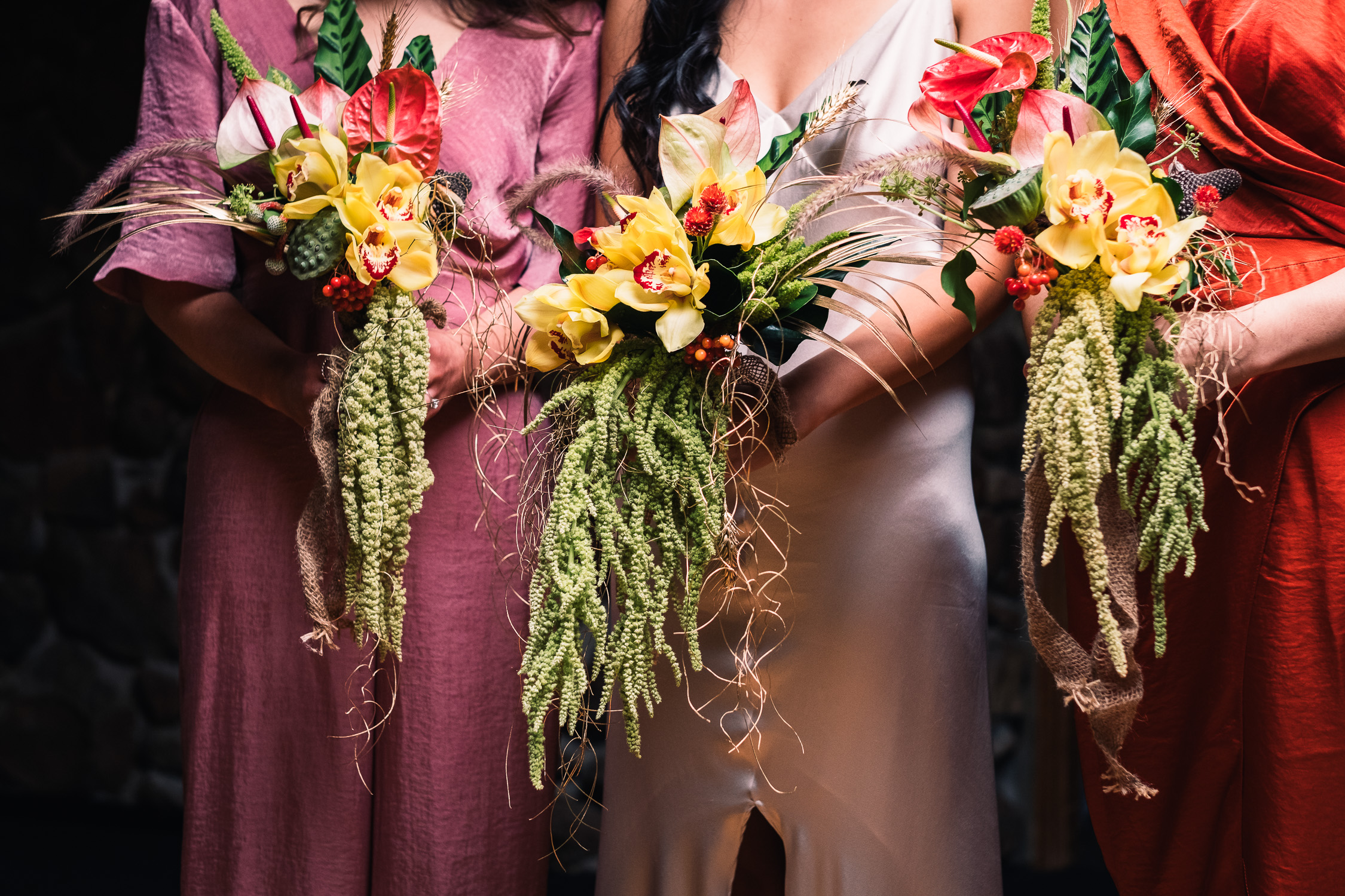 Melbourne Sunnystones Camp Wedding - Bride and bridesmaid silk dresses and native bouquets