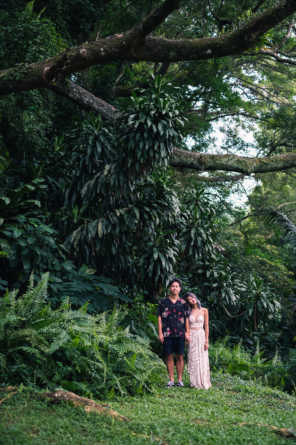 Suwan and Jean Francois from their Singapore prewedding forest shoot