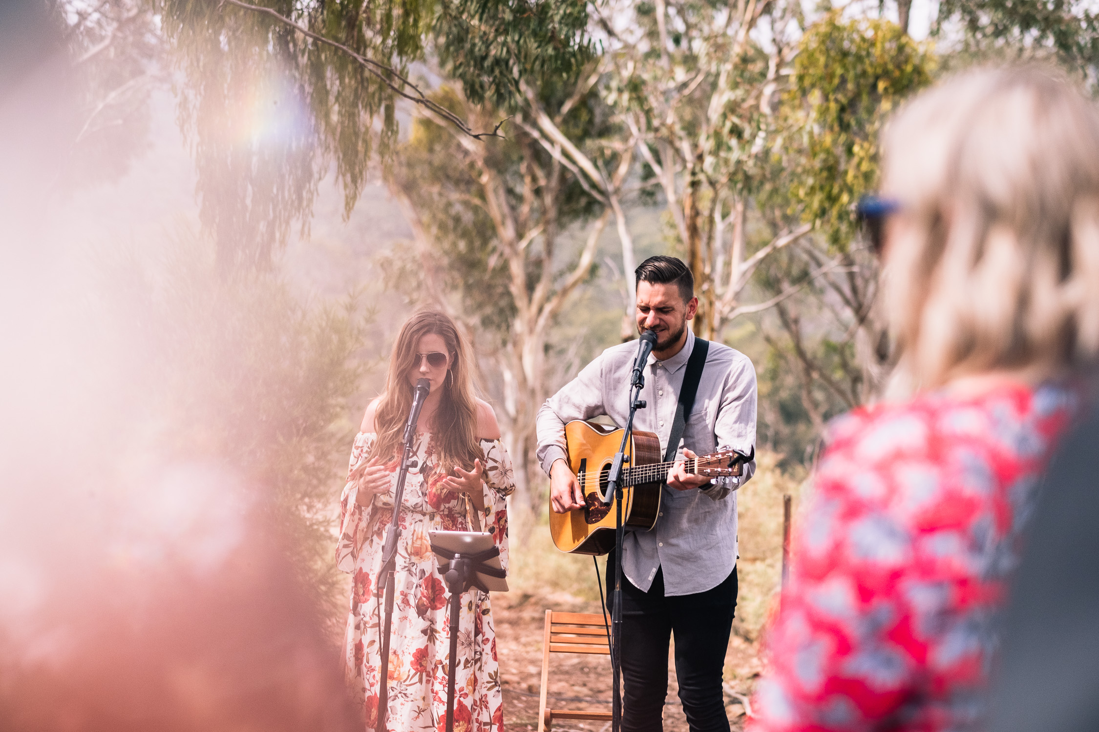 Melbourne Sunnystones Camp Wedding - worship during outdoor ceremony