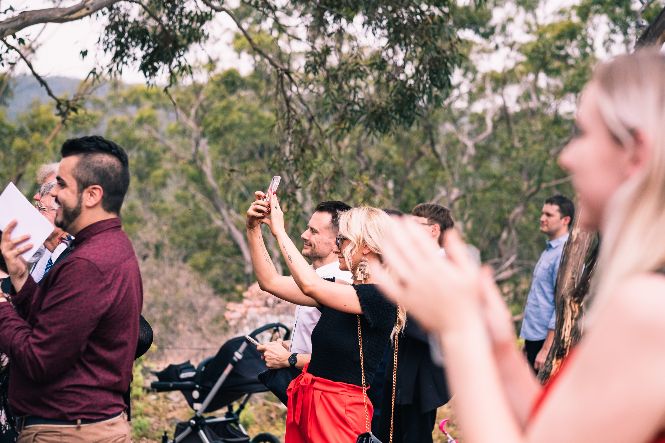 Melbourne Sunnystones Camp Wedding - guests at outdoor ceremony