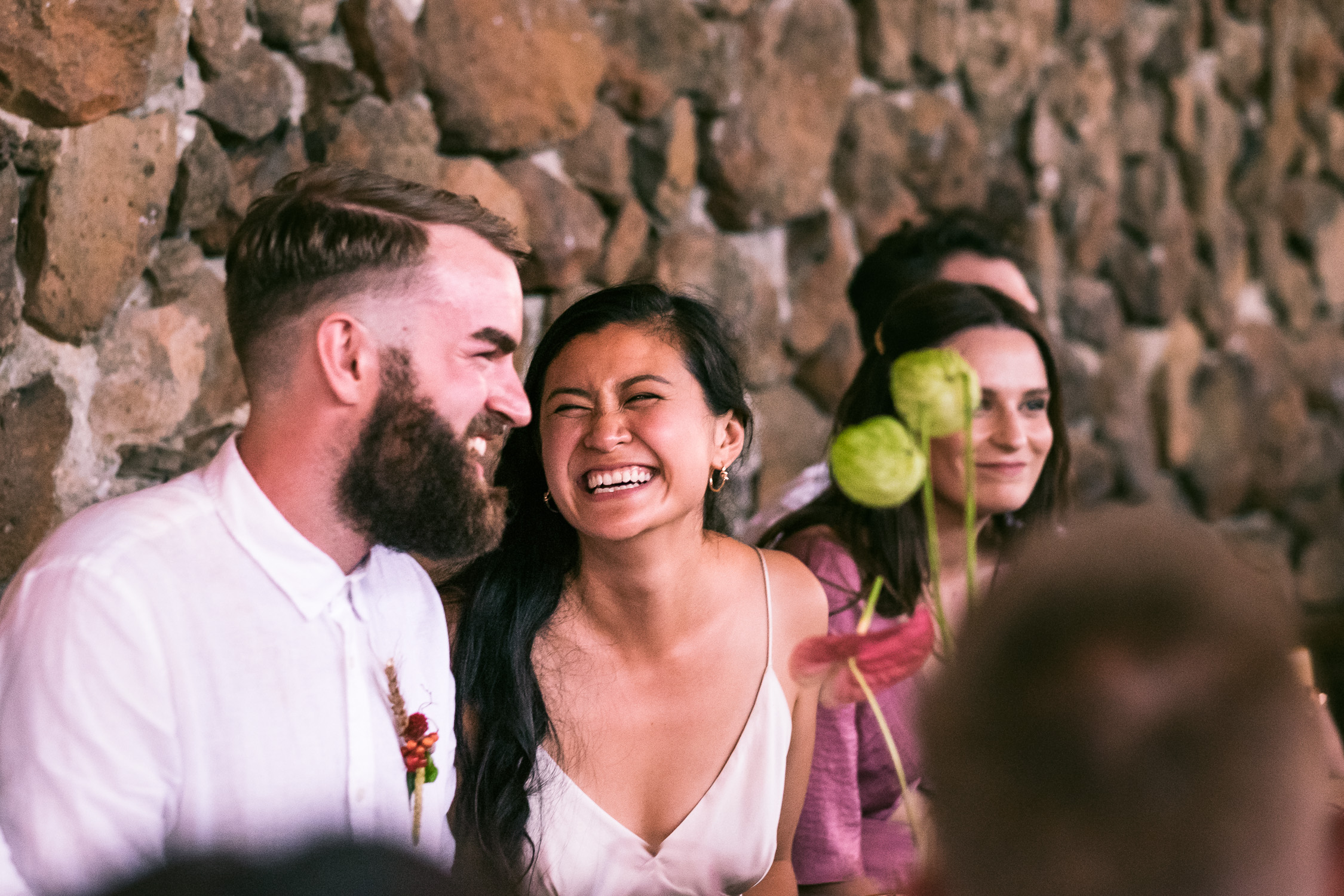 Melbourne Sunnystones Camp Wedding - bride laughing during speeches