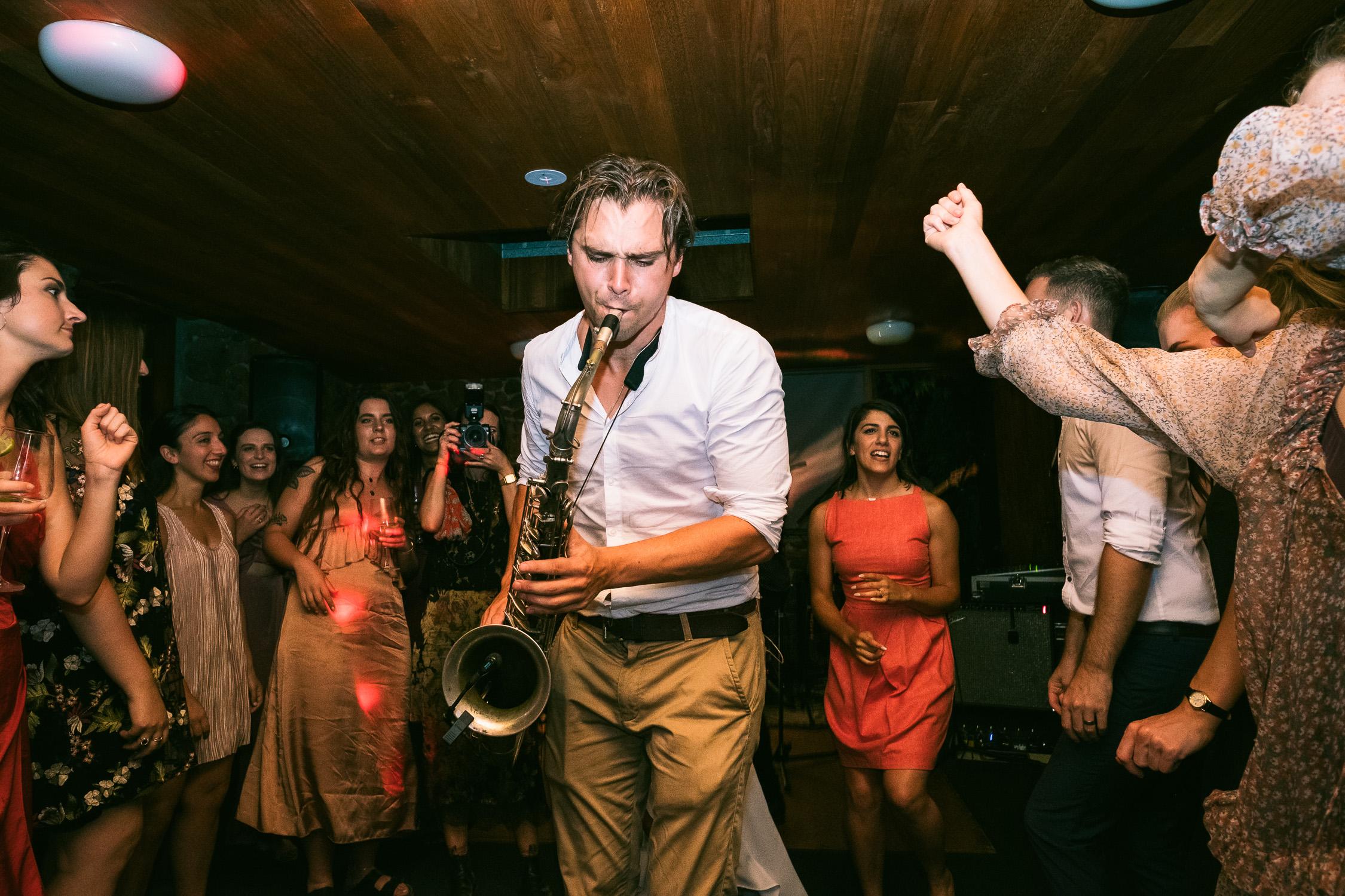Melbourne Sunnystones Camp Wedding - band saxophone player on dancefloor